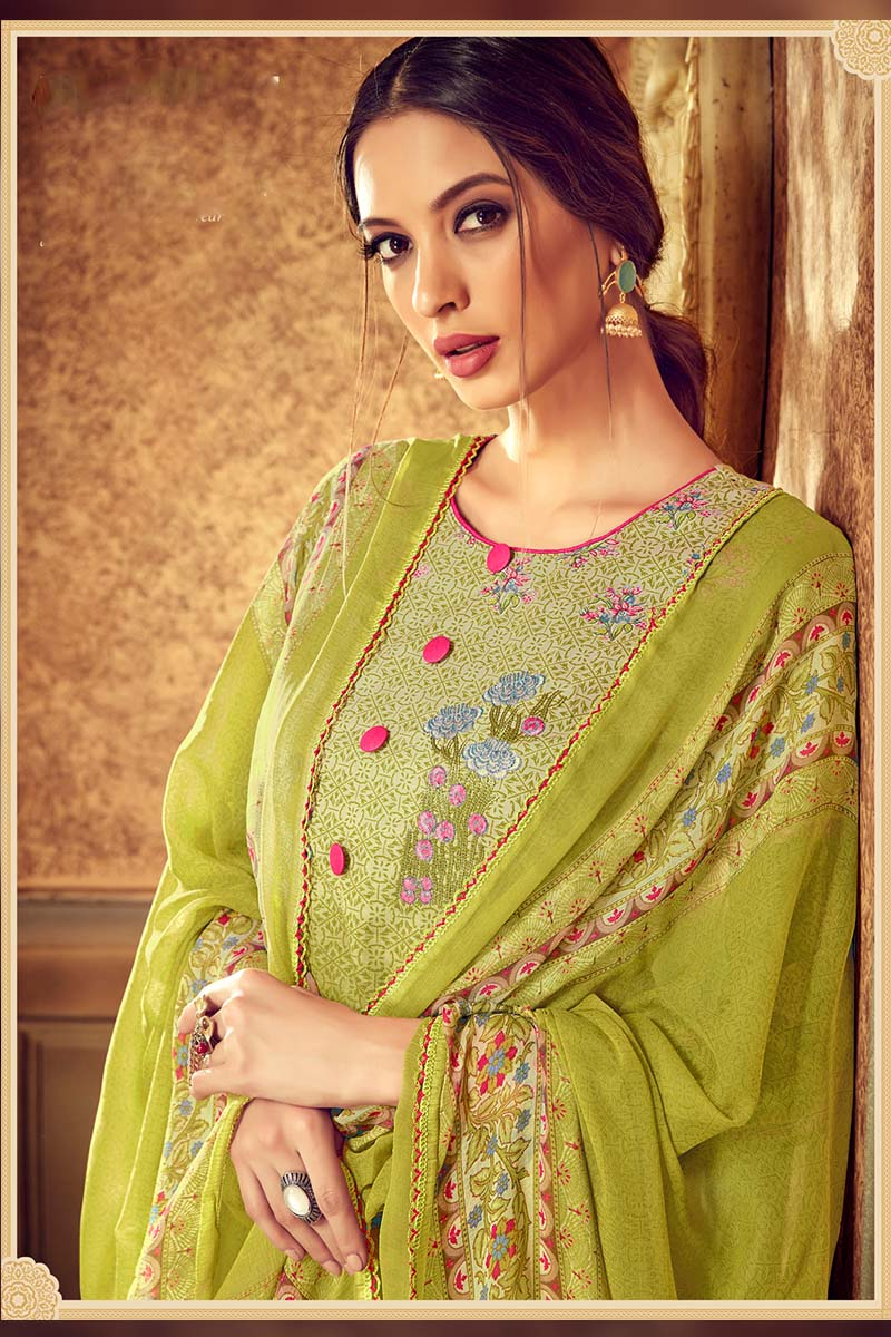Designer Pure Cotton Plazzo Suit In Green Colour.