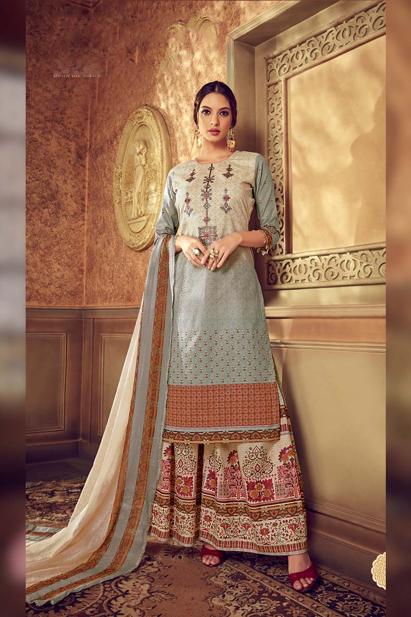Designer Pure Cotton Plazzo Suit In Grey Colour.
