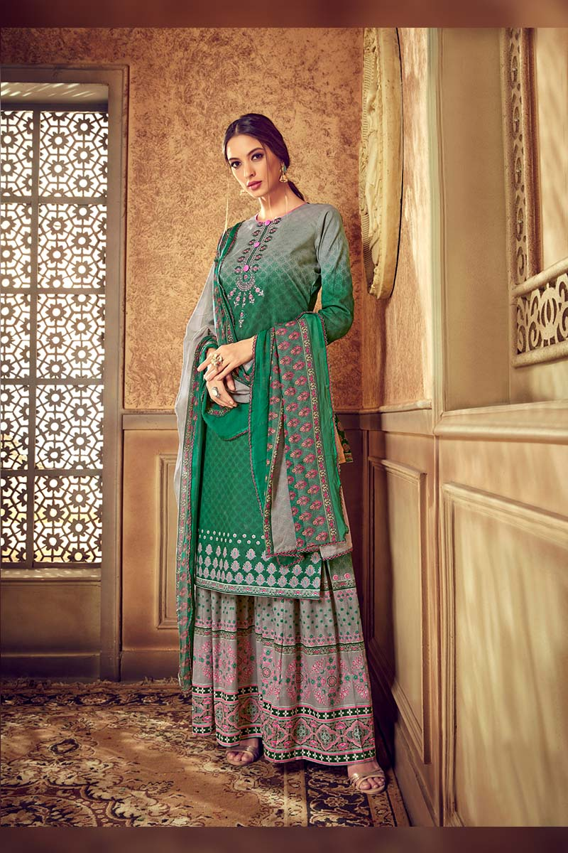 Green Colour Designer Pure Cotton Plazzo Suit .