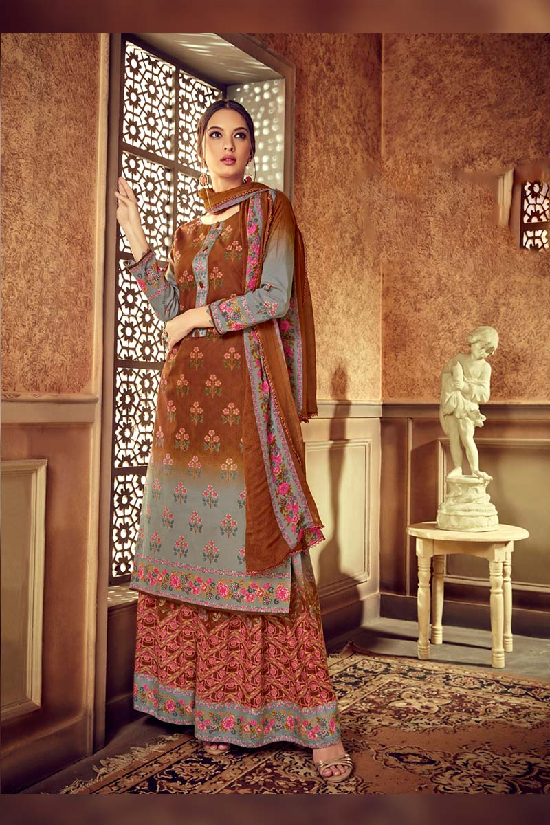 Multi Colour Designer Pure Cotton Plazzo Suit .