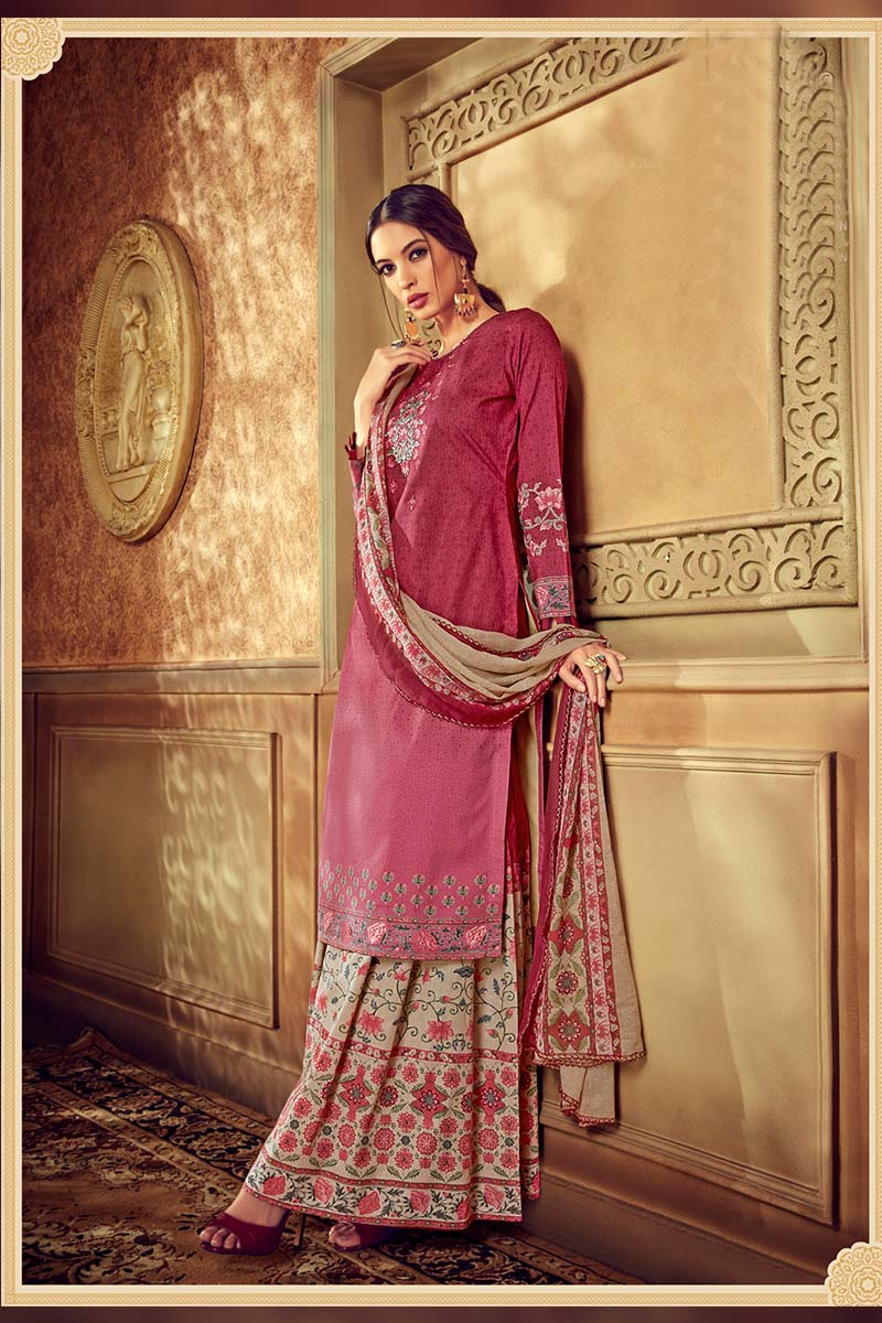 Pink Colour Designer Pure Cotton Plazzo Suit .