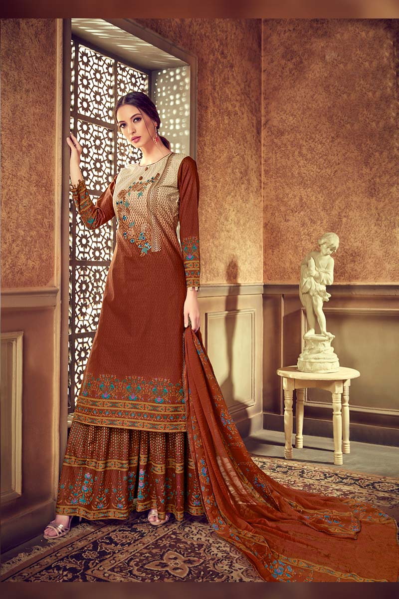 Maroon Colour Designer Pure Cotton Plazzo Suit .