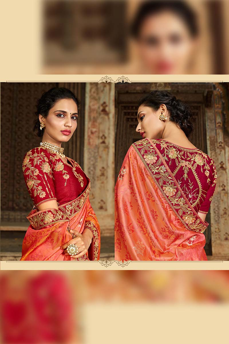 Designer Traditional Heavy Banarasi Silk Jacquard Saree In Two Tone Orange Colour.