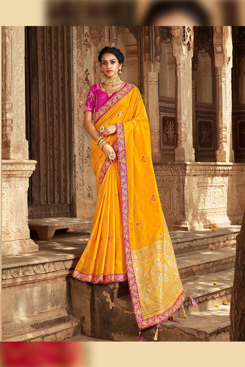 Designer Traditional Heavy Banarasi Silk Jacquard Saree In Yellow Colour.