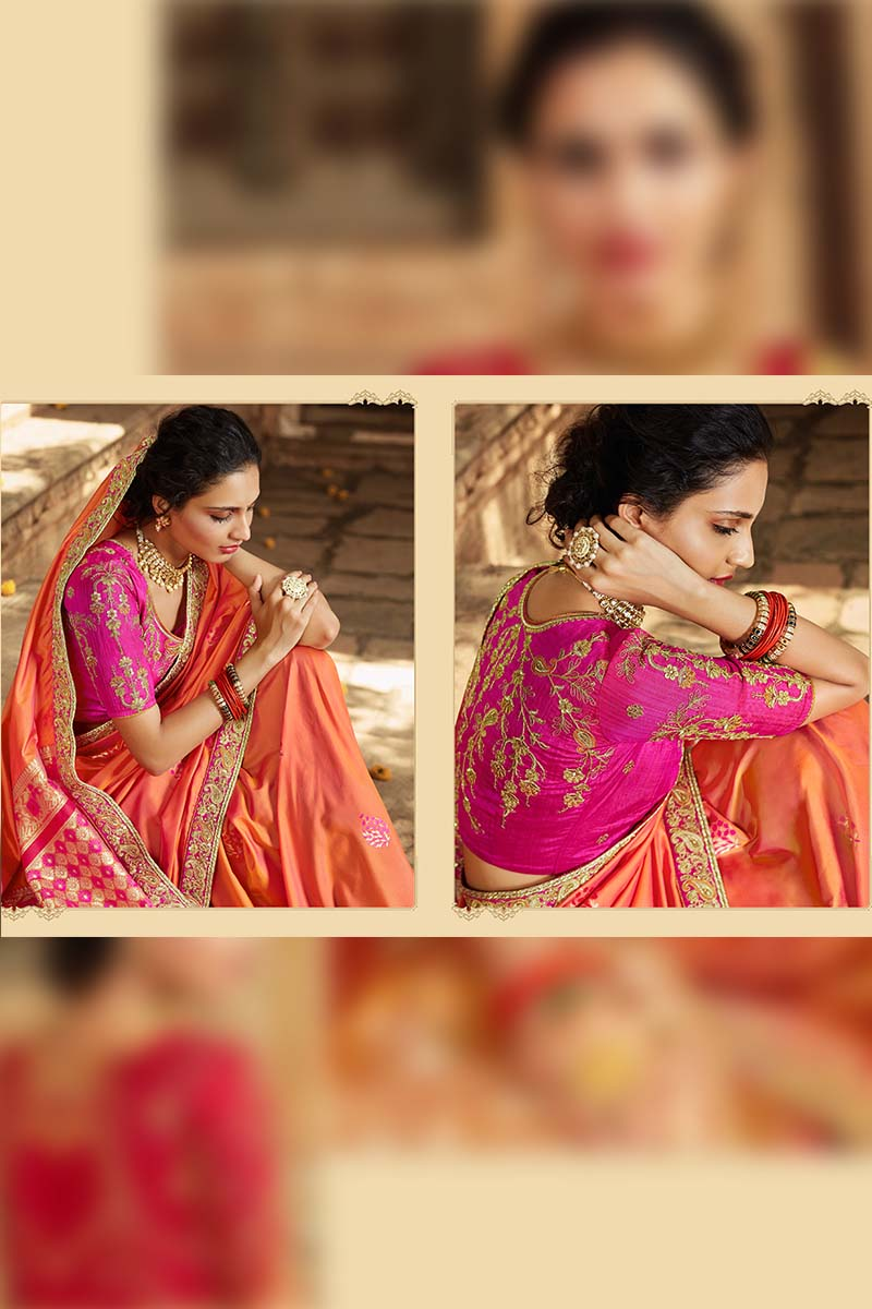 Designer Traditional Heavy Banarasi Silk Jacquard Saree In Peach Colour.