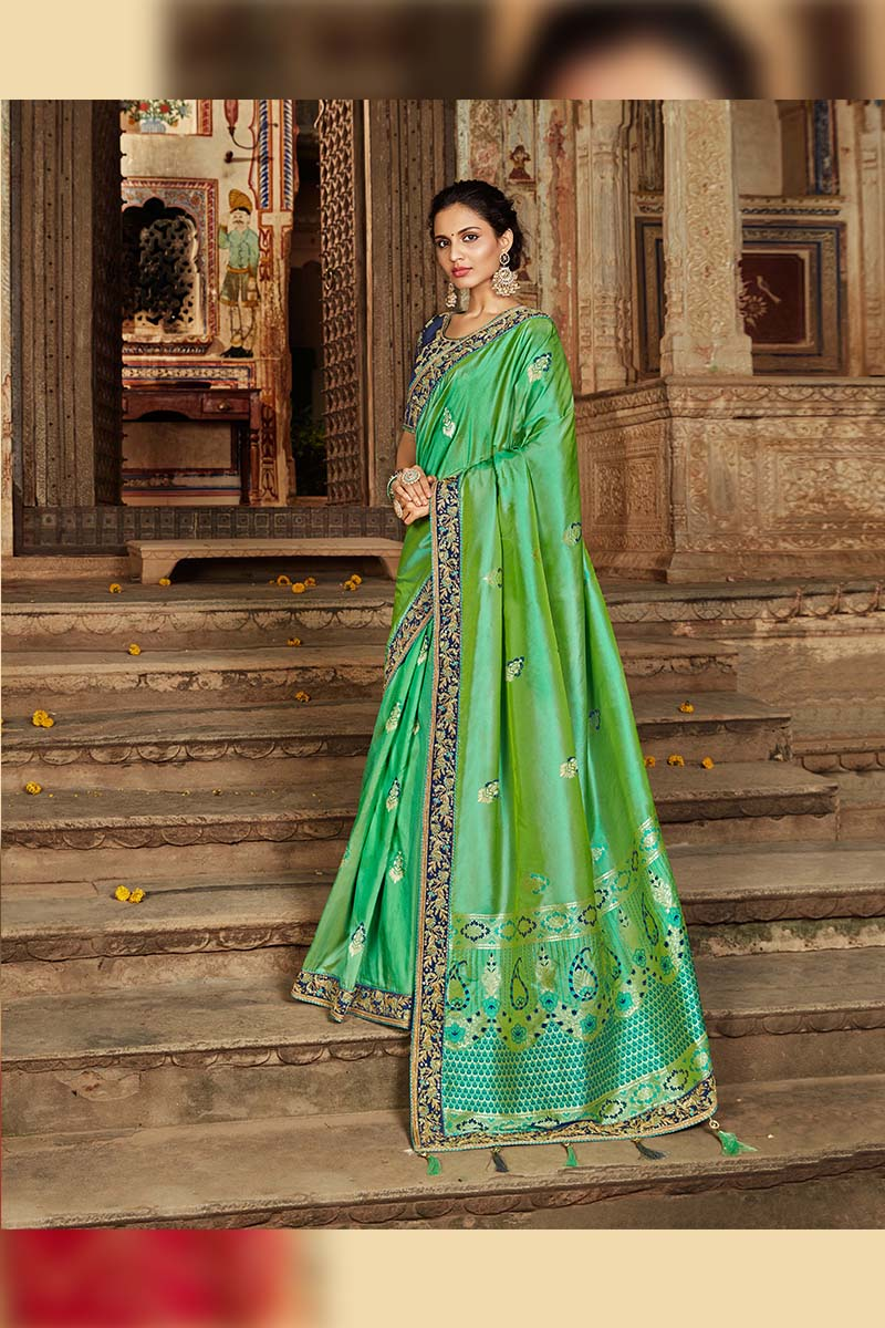 Designer Traditional Heavy Banarasi Silk Jacquard Saree In Green Colour.