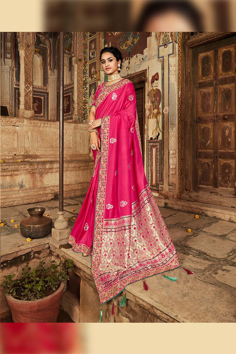 Pink Colour Designer Traditional Heavy Banarasi Silk Jacquard Saree.