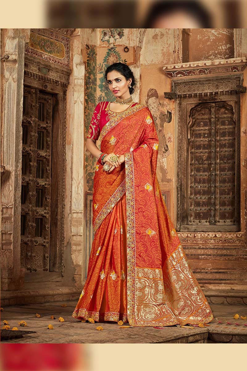 Orange Colour Designer Traditional Heavy Banarasi Silk Jacquard Saree.