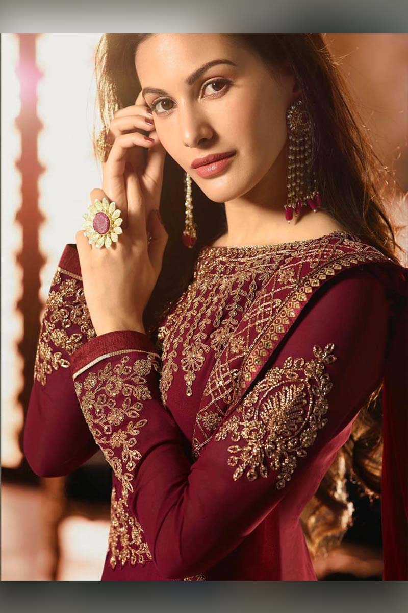 Amazing Maroon Heavy Designer Bridal Wear Anarkali Suit