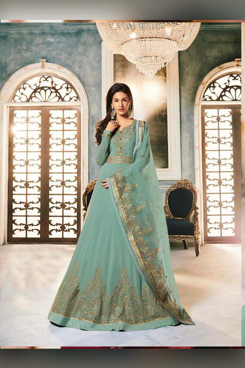Amazing Sea Green Heavy Designer Bridal Wear Anarkali Suit