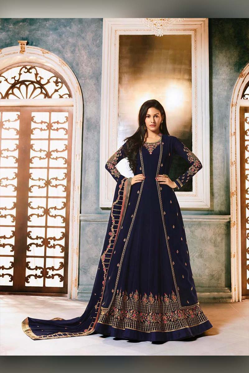 Amazing Navy Blue Heavy Designer Bridal Wear Anarkali Suit