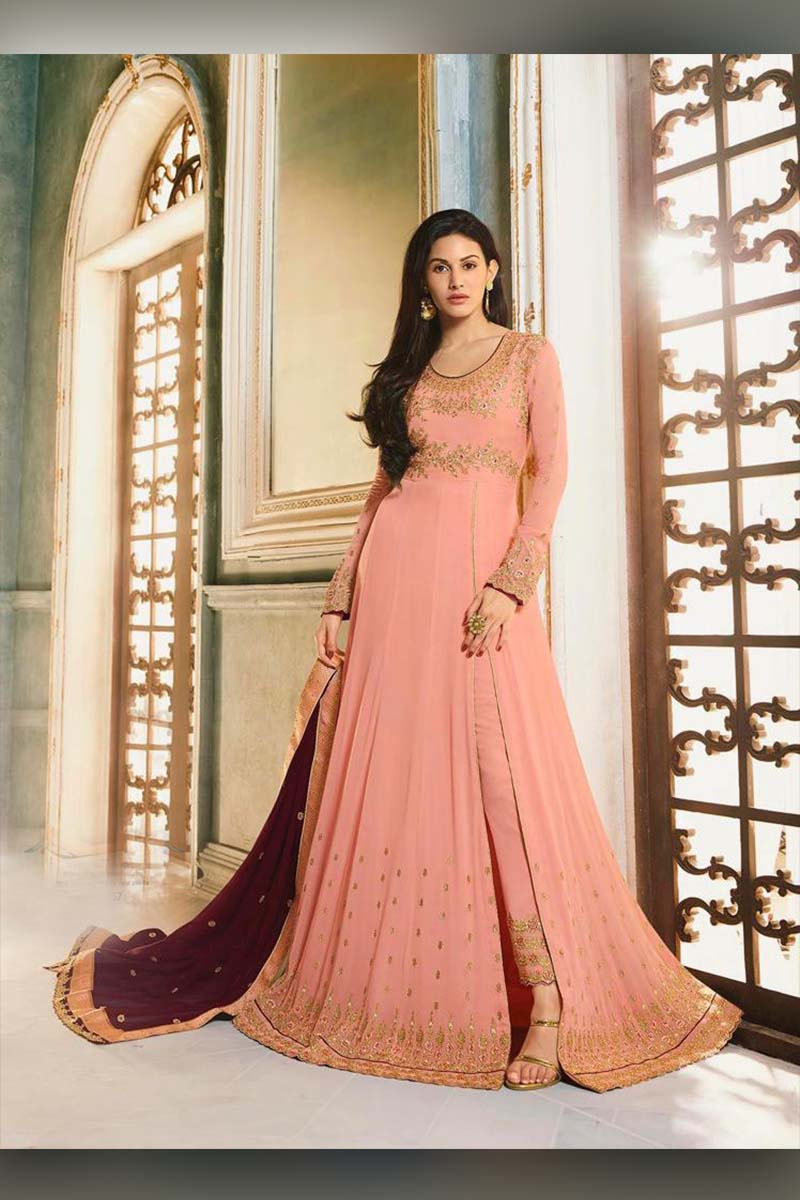 Amazing Peach Heavy Designer Bridal Wear Anarkali Suit With Maroon Dupatta
