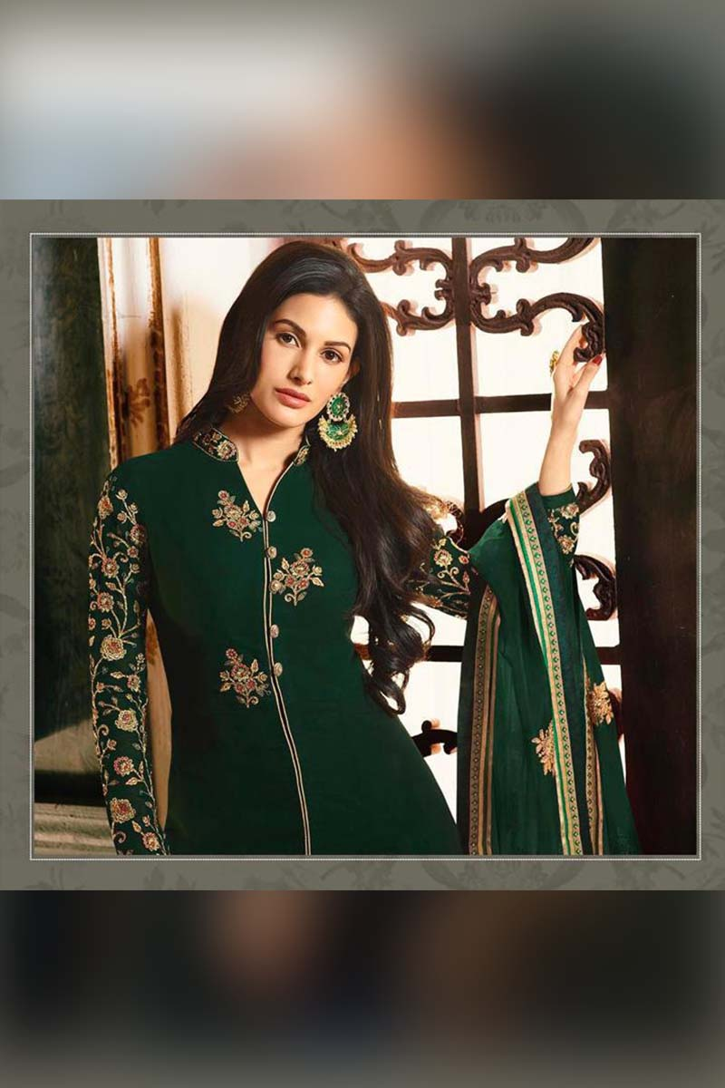 Amazing Green Heavy Designer Bridal Wear Anarkali Suit