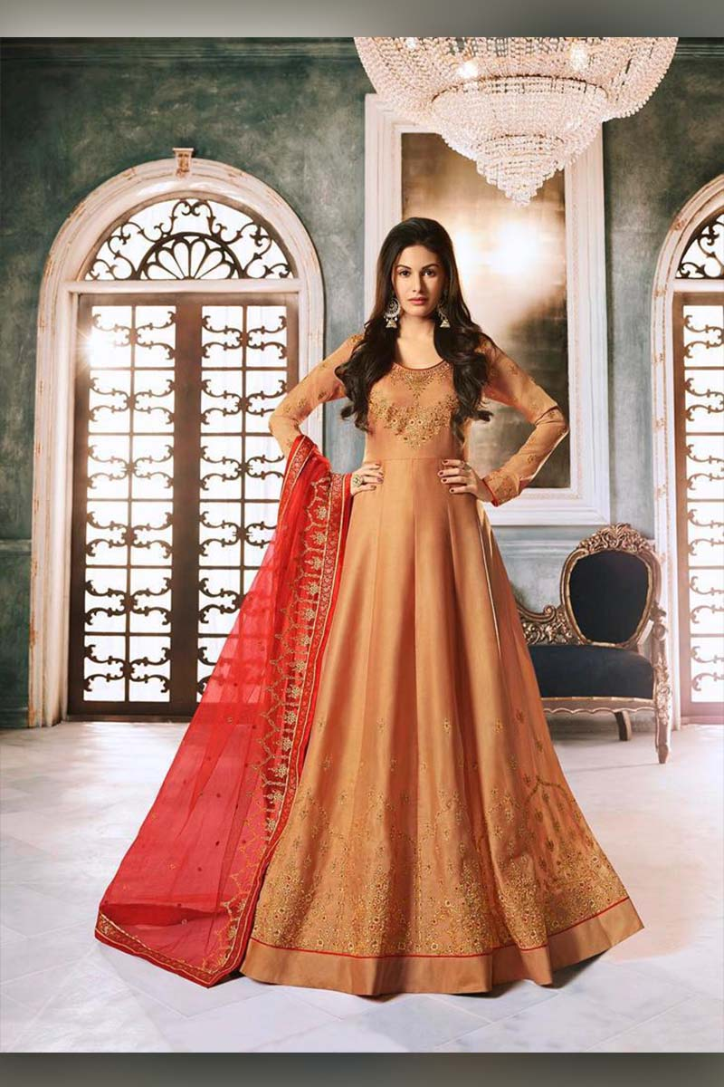 Amazing Mustard Heavy Designer Bridal Wear Anarkali Suit With Red Dupatta