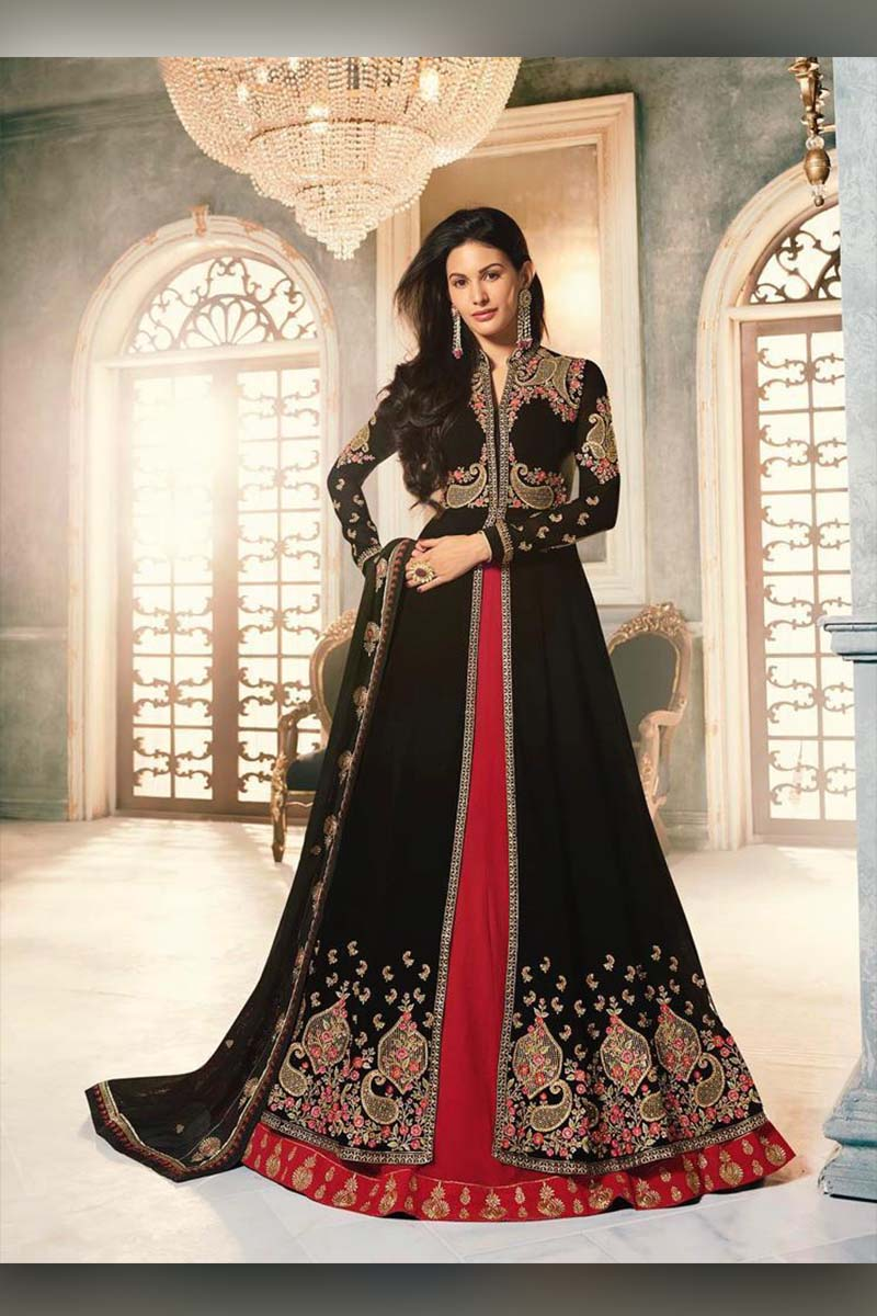 Amazing Black And Red  Heavy Designer Bridal Wear Anarkali Suit