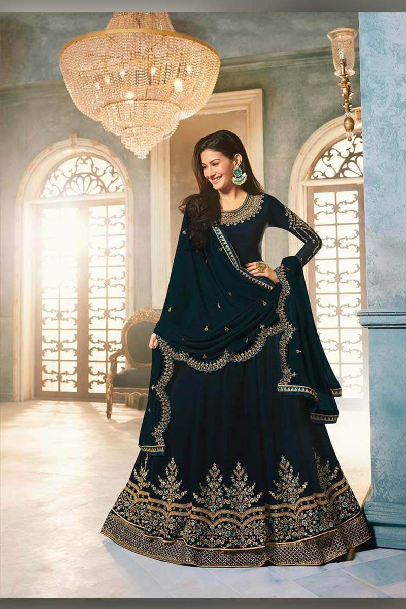 Amazing Steel Green Heavy Designer Bridal Wear Anarkali Suit