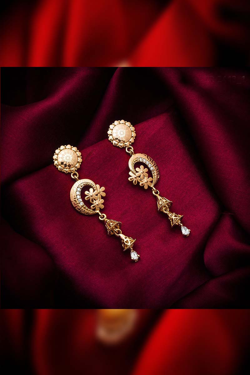 A designer pair of Gold Matte Finish Earrings that will make you feel like a Diva
