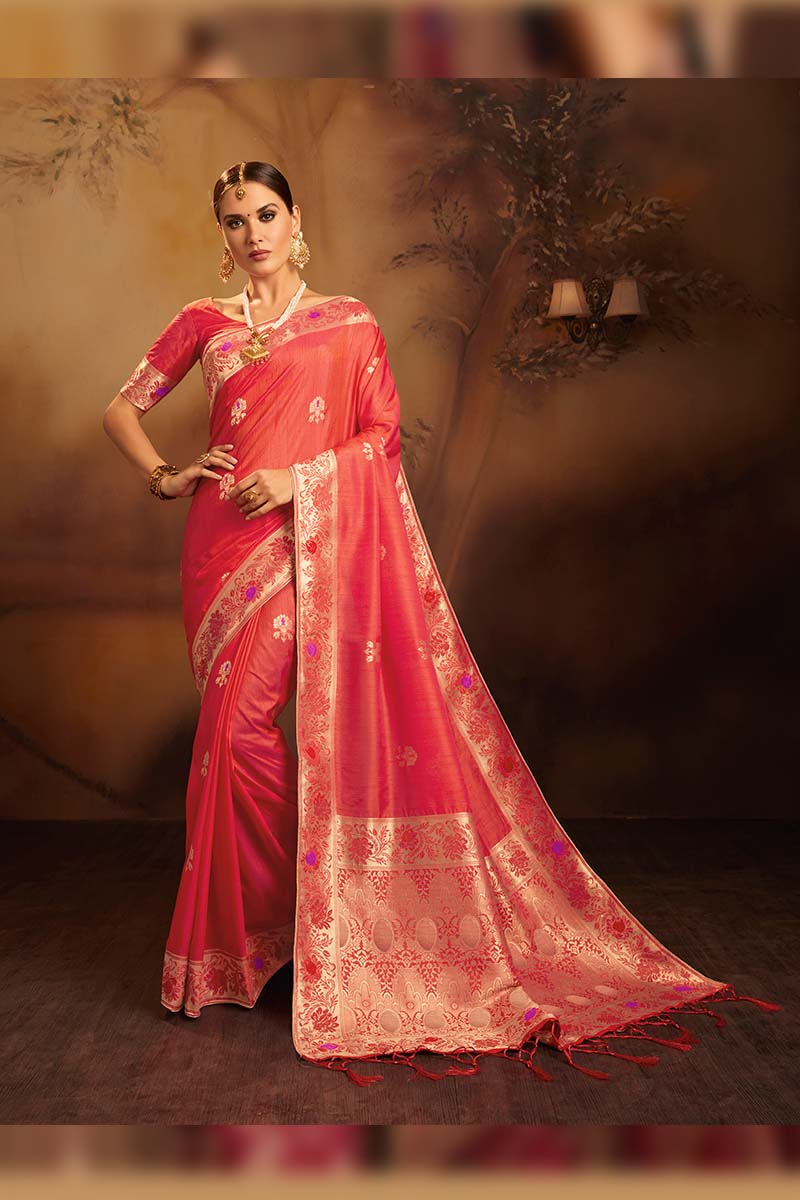 Fancy Jacquard Silk Ethnic Wear Designer Party Wear Saree in Coral color.
