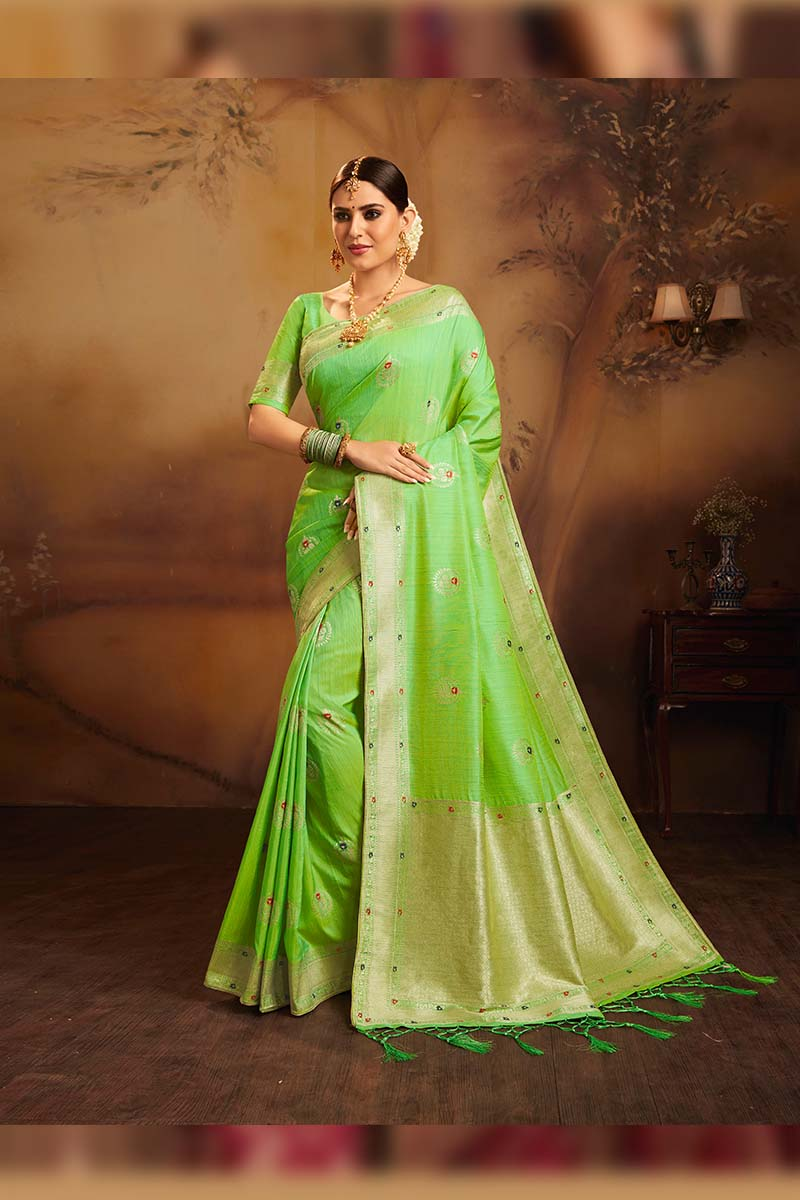 Fancy Jacquard Silk Ethnic Wear Designer Party Wear Saree in Light Green color.