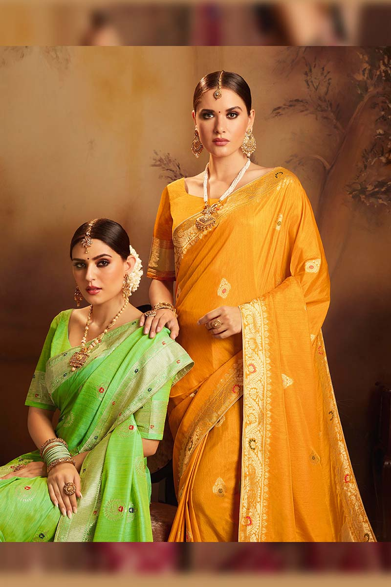 Fancy Jacquard Silk Ethnic Wear Designer Party Wear Saree in Yellow color.