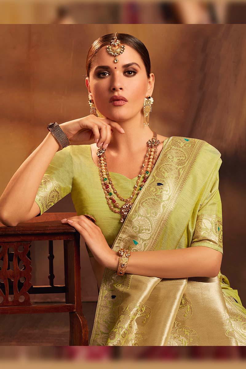 Fancy Jacquard Silk Ethnic Wear Designer Party Wear Saree in Pista color.