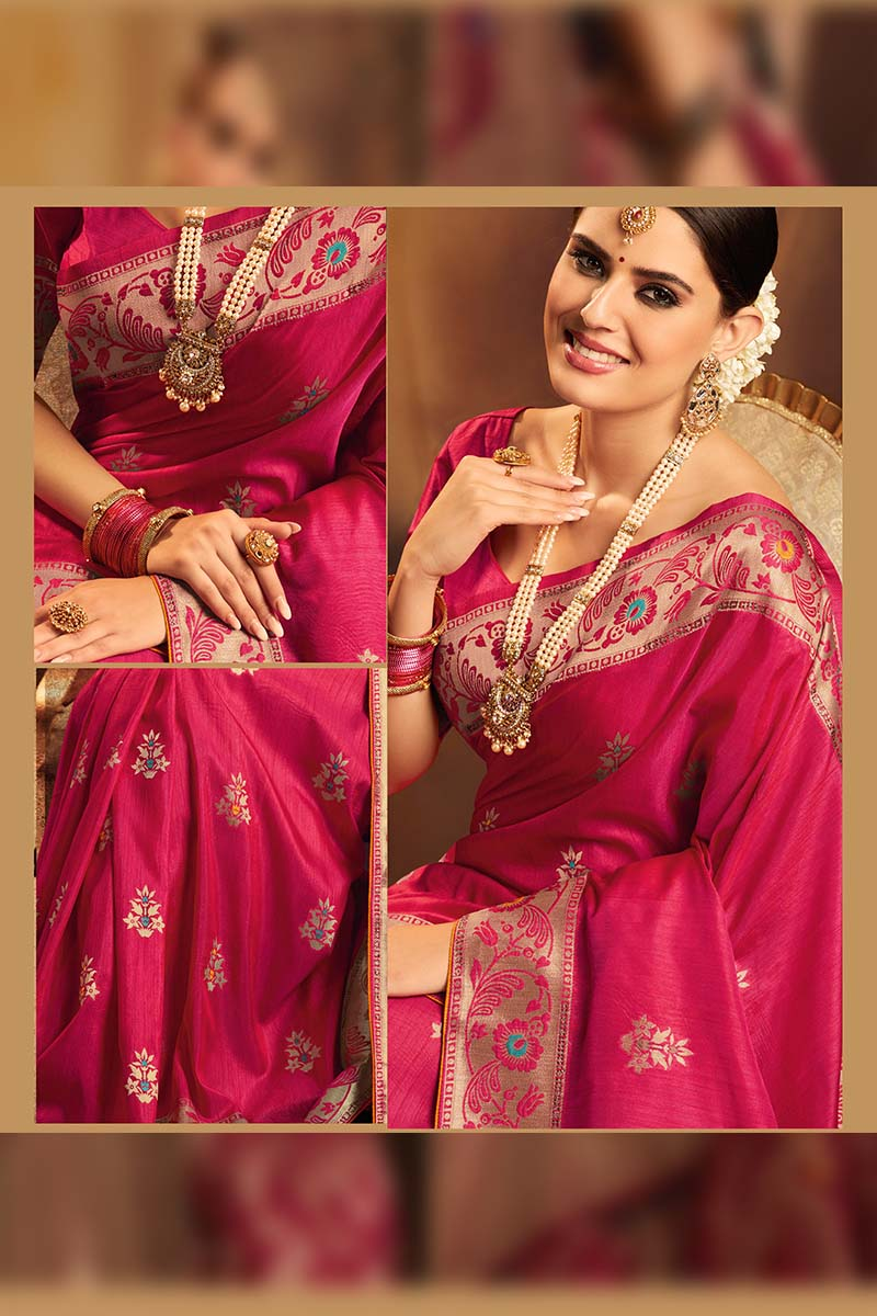 Fancy Jacquard Silk Ethnic Wear Designer Party Wear Saree in Rani Pink color.