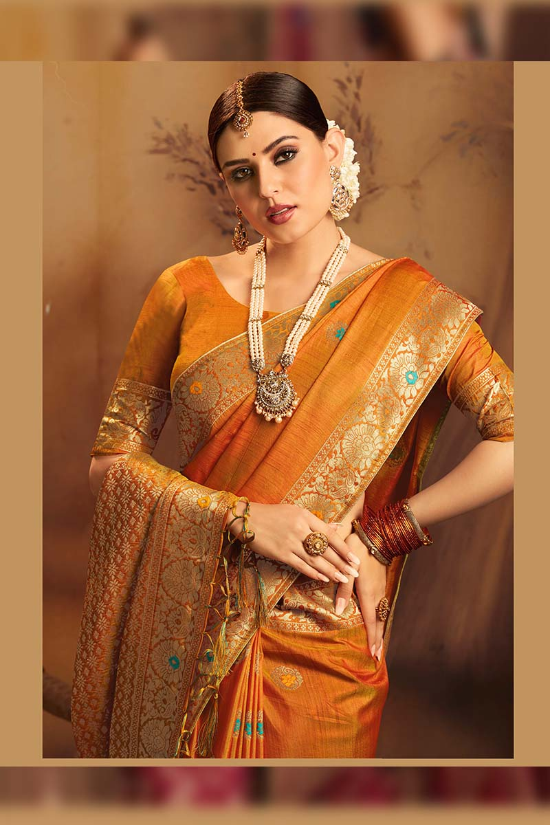 Fancy Jacquard Silk Ethnic Wear Designer Party Wear Saree in Orange color.