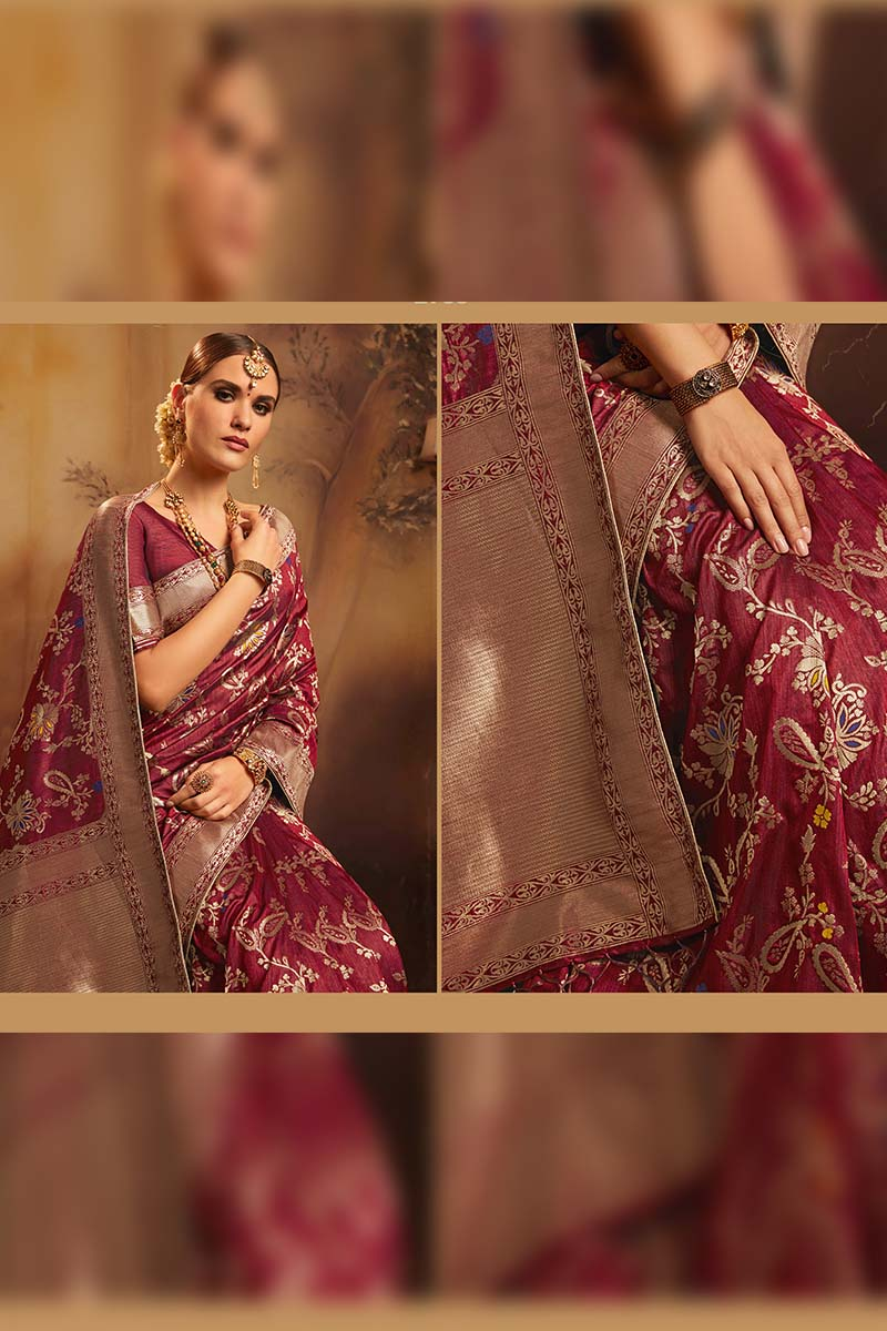 Fancy Jacquard Silk Ethnic Wear Designer Party Wear Saree in Maroon color.