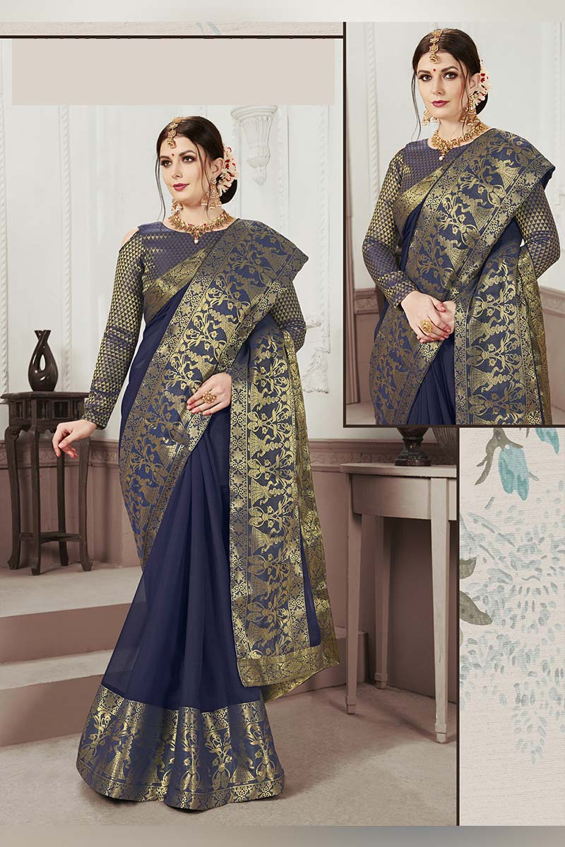 Navy Blue Designer Casual Wear Moss Chiffon Saree