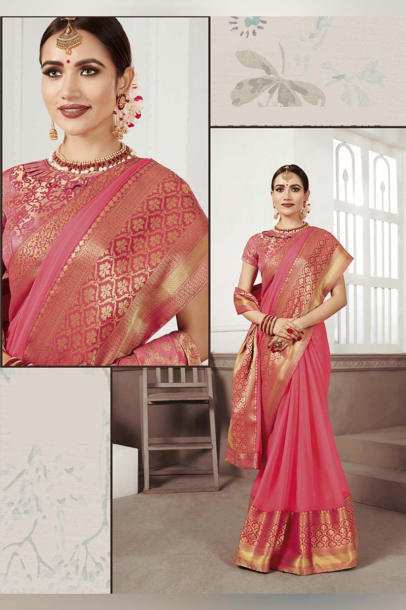 Peach Designer Casual Wear Moss Chiffon Saree