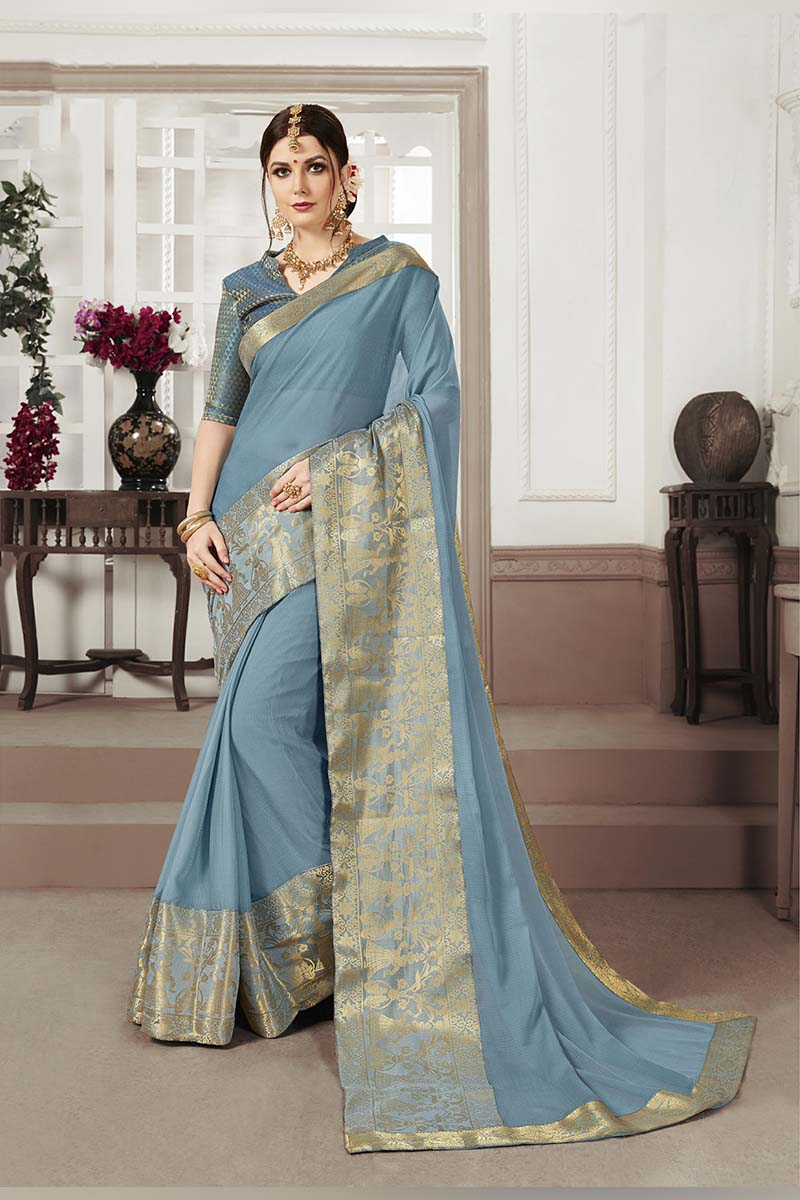 Steel Blue Designer Casual Wear Moss Chiffon Saree