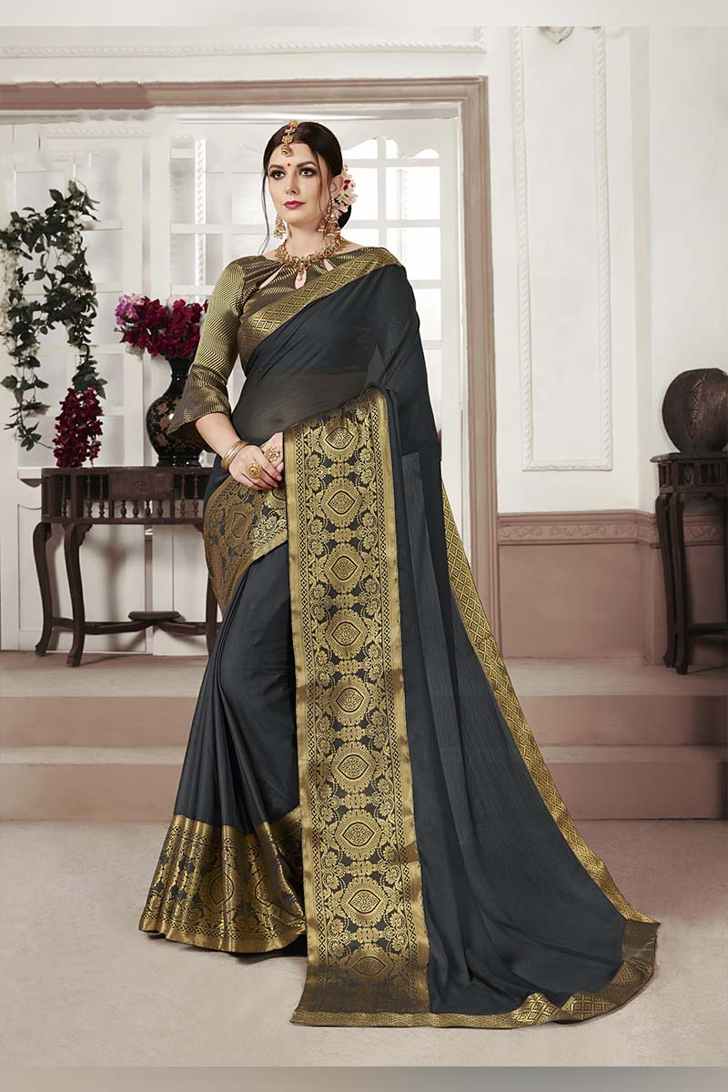 Black Designer Casual Wear Moss Chiffon Saree