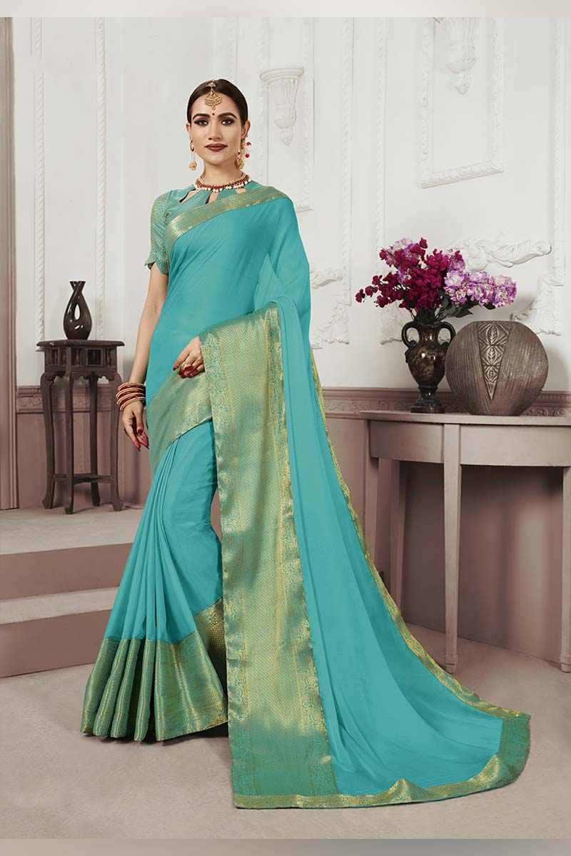 Sea Green Designer Casual Wear Moss Chiffon Saree