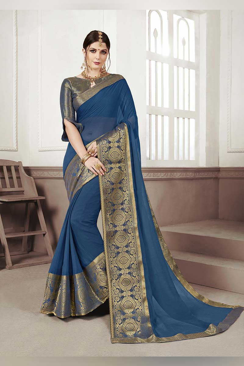 Blue Designer Casual Wear Moss Chiffon Saree