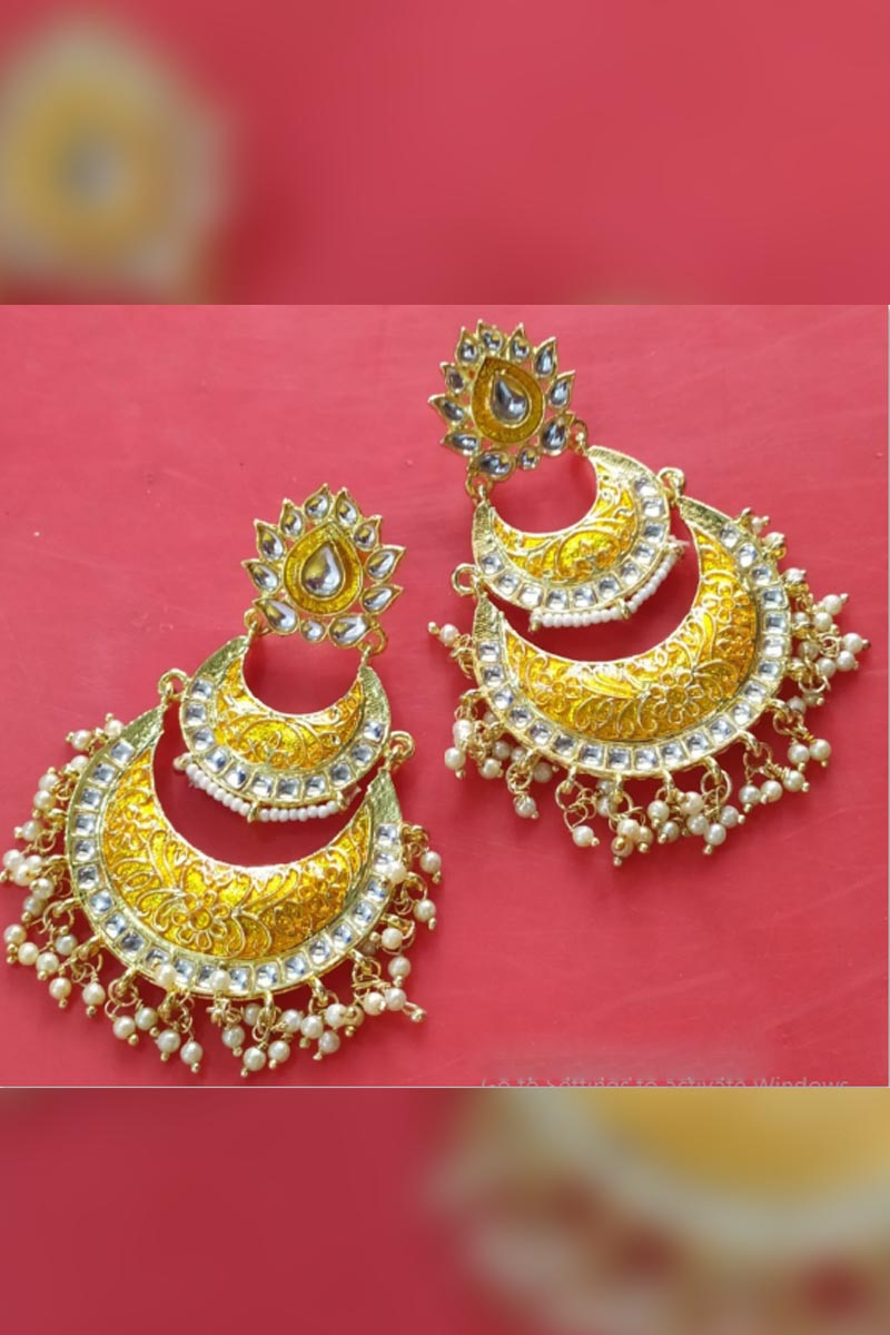 Golden Yellow Colour Meenakari Earrings With Kundan for Stylish Women