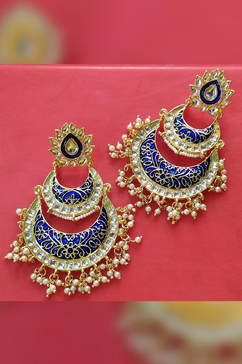 Navy Blue Colour Meenakari Earrings With Kundan for Stylish Women
