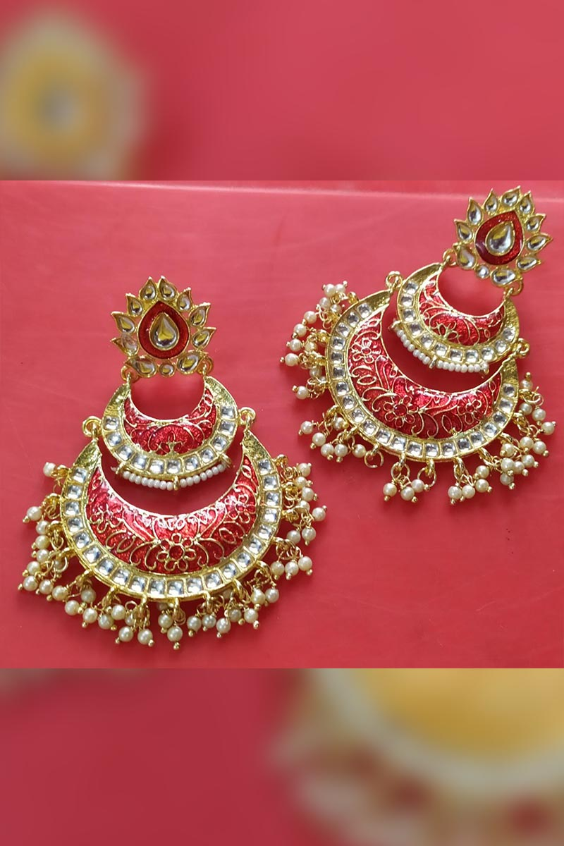 Red Colour Meenakari Earrings With Kundan for Stylish Women