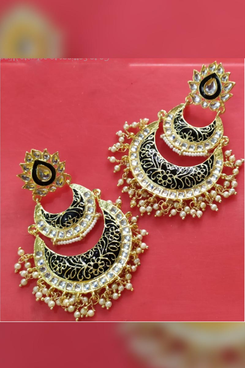 Black Colour Meenakari Earrings With Kundan for Stylish Women