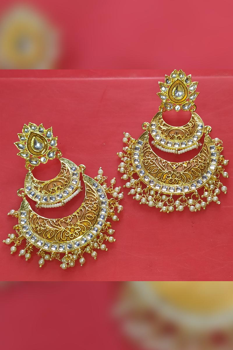 Copper Colour Meenakari Earrings With Kundan for Stylish Women