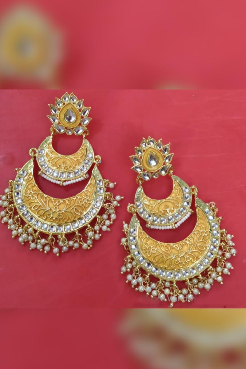 Matte Gold Colour Meenakari Earrings With Kundan for Stylish Women