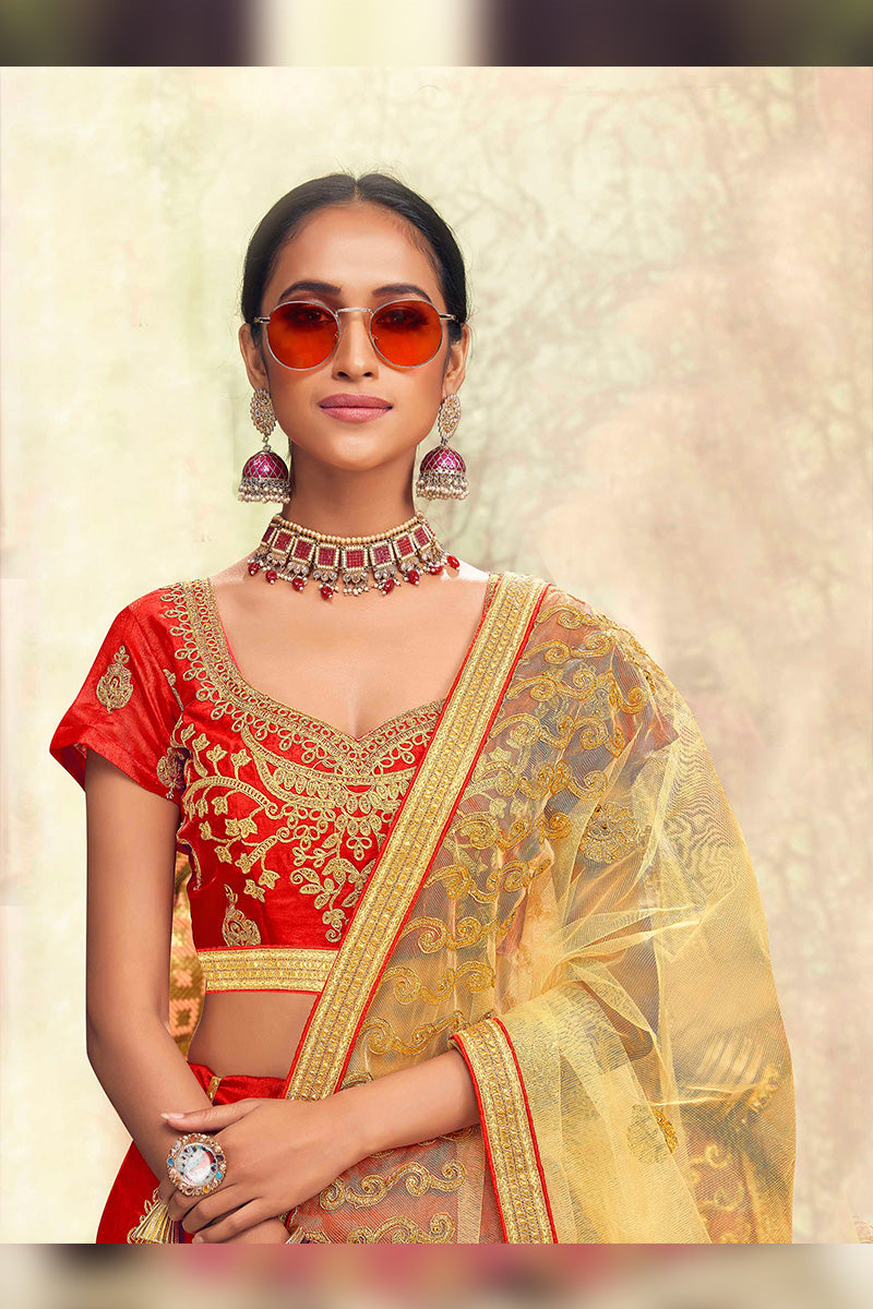 Amazing Party Wear Lehenga In Red & Beige Colour