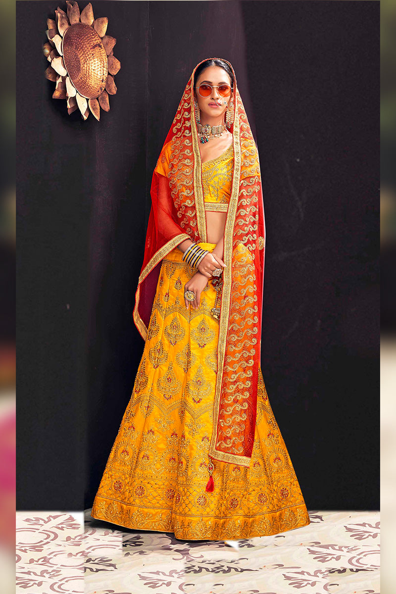Amazing Party Wear Lehenga In Yellow & Red Colour