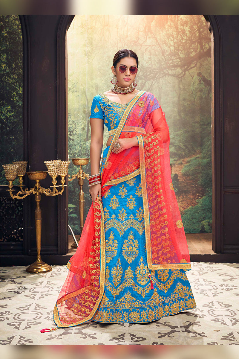 Amazing Party Wear Lehenga In Sky Blue & Pink Colour