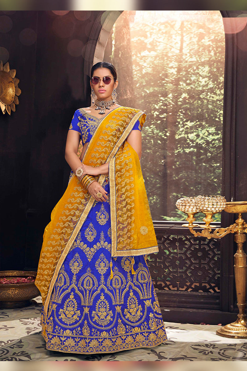 Amazing Party Wear Lehenga In Blue & Yellow Colour