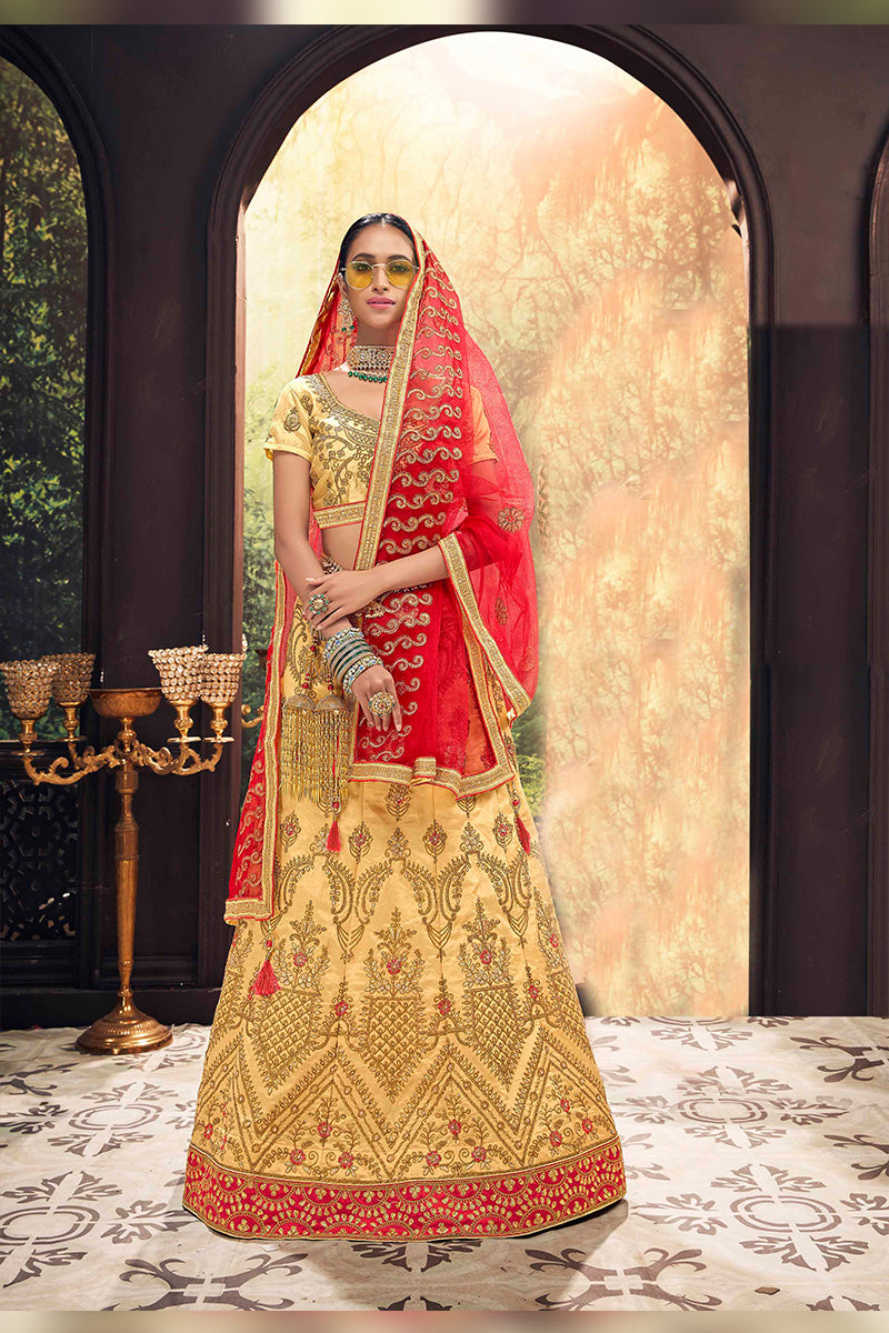 Amazing Party Wear Lehenga In Beige & Red Colour