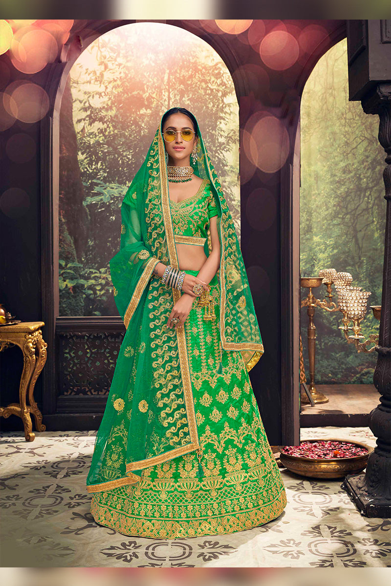 Amazing Party Wear Lehenga In Green Colour