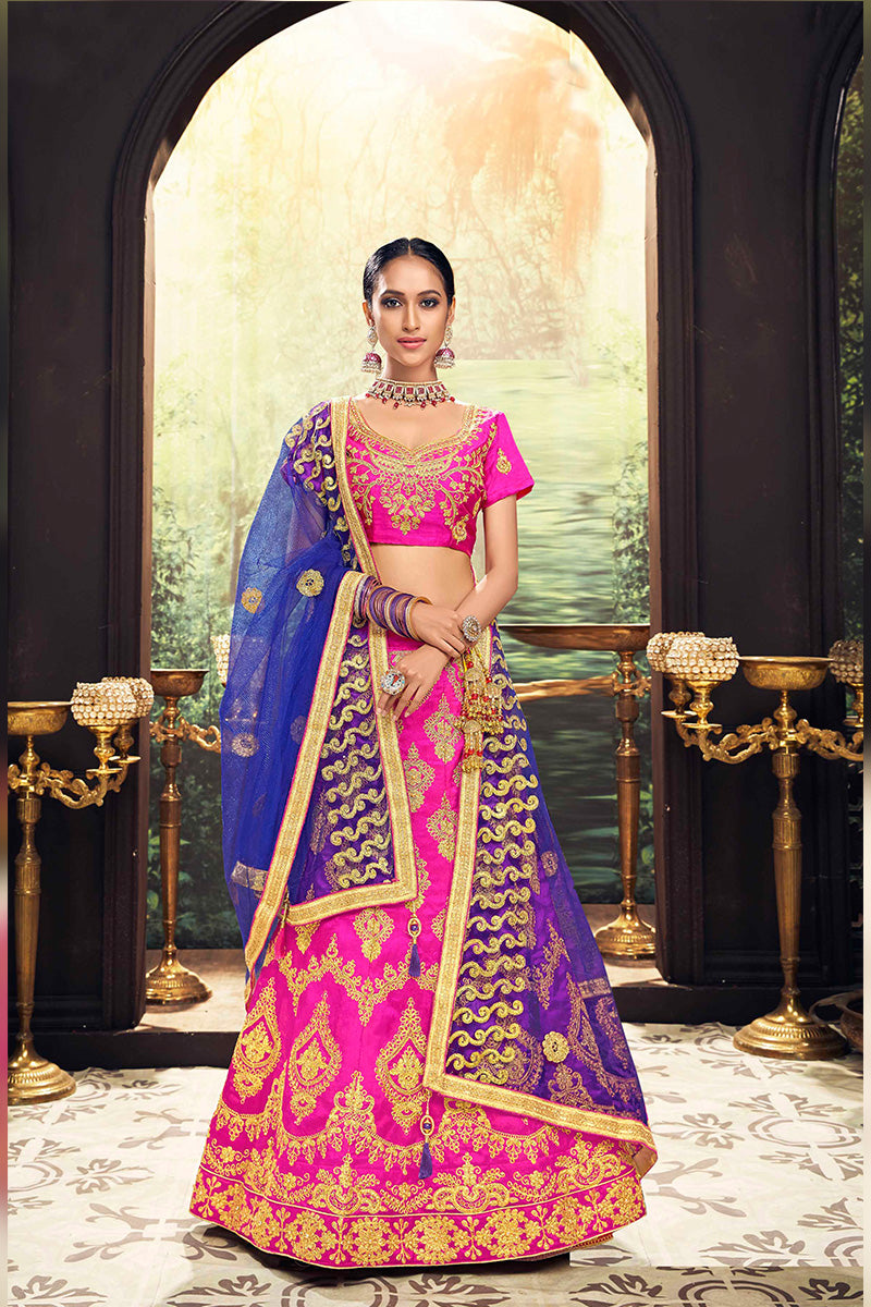 Amazing Party Wear Lehenga In Pink & Blue Colour