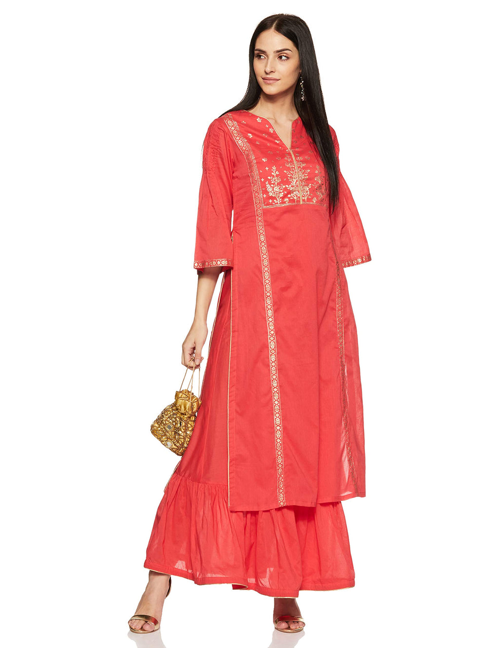 Women's Cotton Anarkali Kurta (Summer E14780_Coral_32)