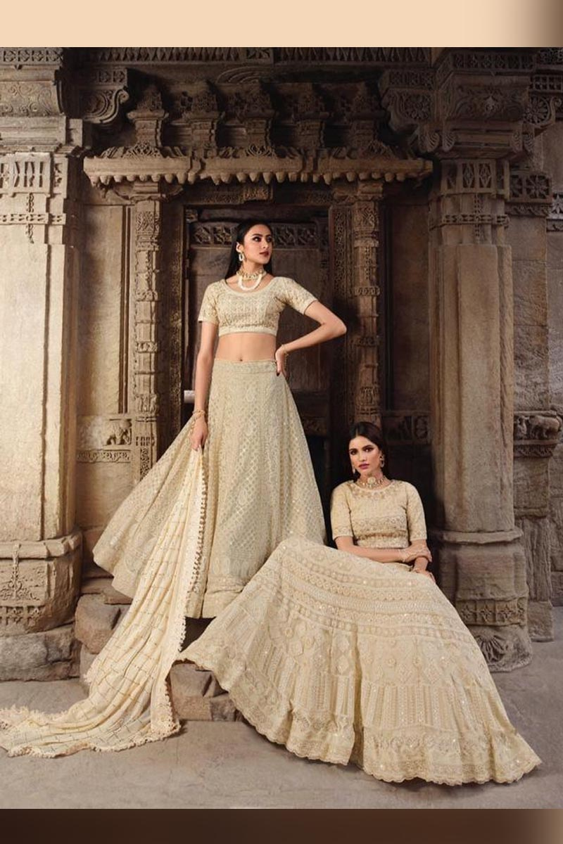 Off White Elegant Wedding Wear Designer Lehenga Choli