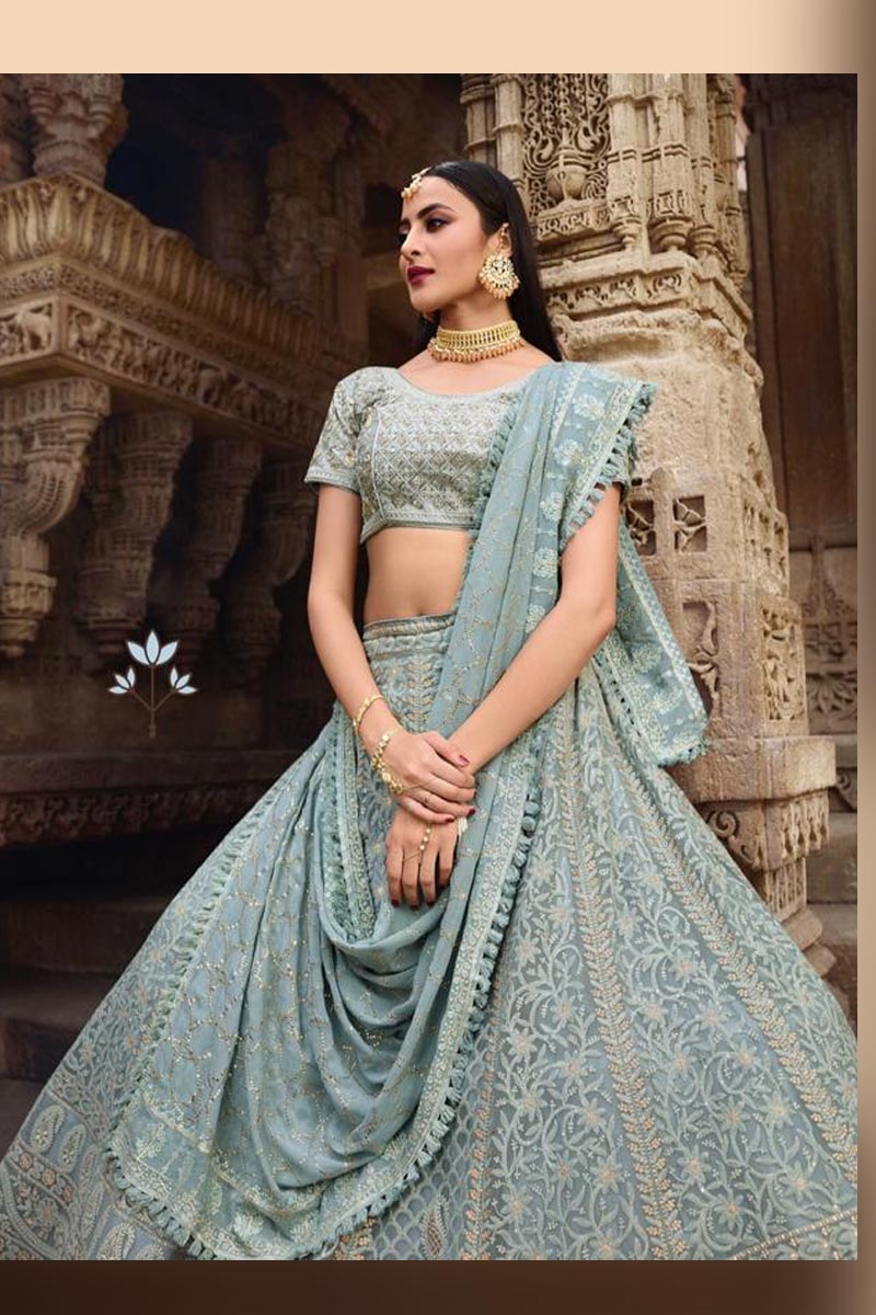 Sky Blue Elegant Wedding Wear Designer Lehenga Choli